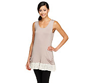 LOGO by Lori Goldstein Knit Tank with Lace Trim - A254033
