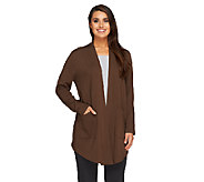 Susan Graver Weekend Brushed Back Knit Cascade Front Cardigan - A258633