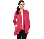 LOGO by Lori Goldstein Open Front Knit Cardigan with Hi-Low Hem - A261133