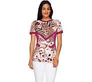 George Simonton Printed Milky Knit Short Sleeve Top - A262233