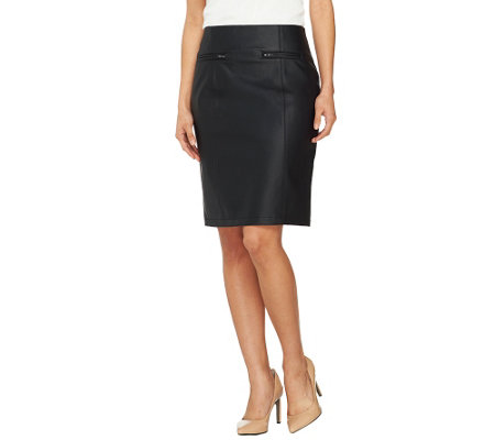 dennis basso fully lined faux leather skirt with zipper