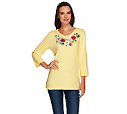 Quacker Factory Embroidered Floral V-Neck 3/4 Sleeve T-shirt - A264533