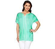 Lisa Rinna Collection Regular Knit Top with Neckline Detail - A264733