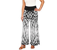 Women with Control Petite Printed Palazzo Pants with Side Slits - A264933