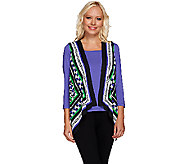 Bob Mackies Printed Vest and 3/4 Sleeve Knit Top Set - A268233