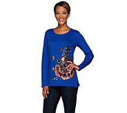 Quacker Factory Witching Hour Sequin and Beaded Long Sleeve T-Shirt - A268433