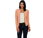 G.I.L.I. Faux Suede Jacket with Ponte Side Panels - A268533