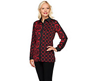 Bob Mackies Button Front Twin Moroccan Printed Collared Shirt - A271133
