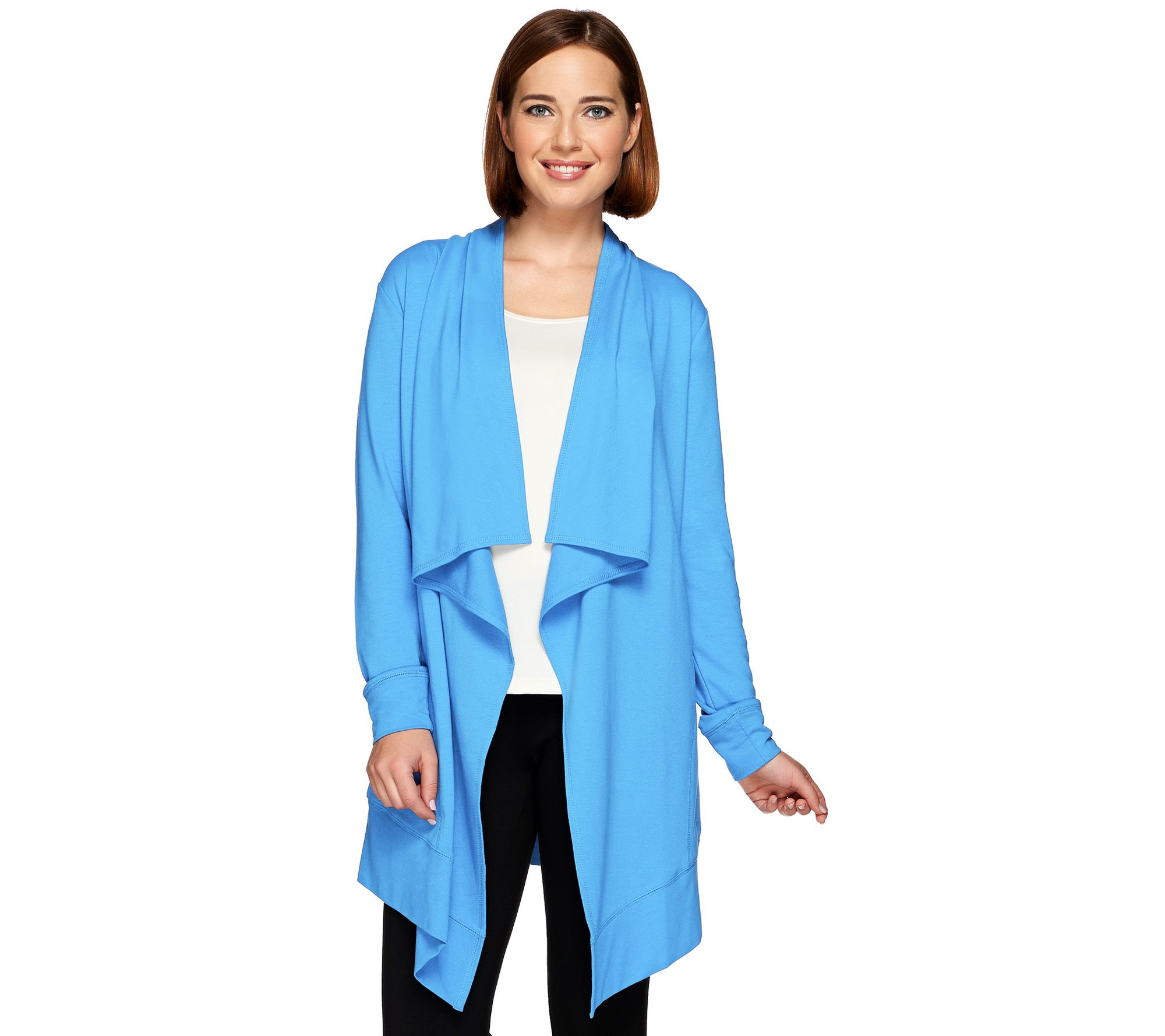 Denim & Co. Active French Terry Cascade Cardigan with Pockets ...