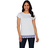 Isaac Mizrahi Live! Striped Knit Top with Lace Hem Detail - A274533