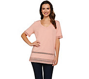 C. Wonder Knit V-neck Short Sleeve Top with Lace Trim - A275633