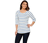 Isaac Mizrahi Live! TRUE DENIM Striped Raglan Sleeve T-shirt - A275733