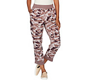 LOGO by Lori Goldstein Camo Printed Pants w/ Solid Ribbed Cuffs - A276633