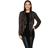 Lisa Rinna Collection Drape Front Faux Suede Jacket - A278933