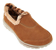 Skechers GOWalk Suede Slip-ons with Faux Fur Lining - Alluring - A282333