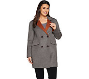 LOGO by Lori Goldstein Button Front Coat with Contrast Lapel - A283033