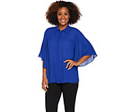 Joan Rivers Silky Blouse with Flutter Sleeves - A288733