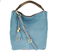 As Is G.I.L.I. Italian Pebble Leather Hobo Bag w/Edg Paint - A288933