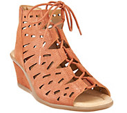 Earth Nubuck Leather Lace-up Wedge Sandals - Daylily - A289333