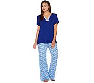 Carole Hochman Geo Fan Rayon Spandex Wide Leg Pant Pajama Set - A291533