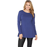 As Is Denim & Co. Essentials Long Sleeve Round Neck Fit and Flare Top - A293333