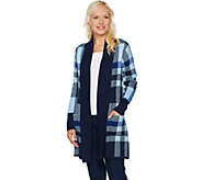 Isaac Mizrahi Live! Engineered Plaid Cardigan with Pockets - A294433