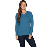 Denim & Co. Essentials Rib Knit Long Sleeve Top w/ Lace Trim - A295733