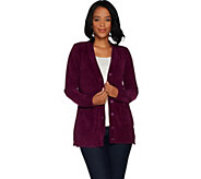 Isaac Mizrahi Live! Chenille Long Sleeve Button Front Cardigan - A299833