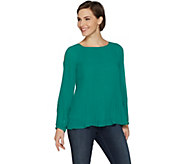 Susan Graver Pleated Woven Cold Shoulder Top - A300533