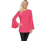 Susan Graver Textured Liquid Knit Top with Bell Sleeves - A301133