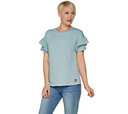 Peace Love World Short Ruffle Sleeve Tee - A301633