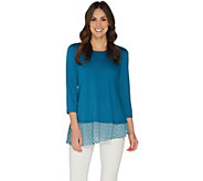 LOGO by Lori Goldstein Solid Crepe Top w/ Embroidered Hem Detail - A302433