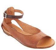 Miz Mooz Leather Peep-Toe Flats w/ Ankle Strap - Angel - A304333
