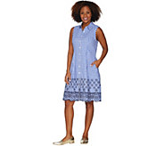 Isaac Mizrahi Live! Gingham Shirt Dress w/ Eyelet Embroidery - A305233