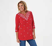 Quacker Factory Bandana Embroidered 3/4 Sleeve Knit Tunic - A305533