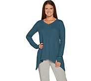 As Is AnyBody Loungewear Cozy Knit Waffle Sharkbite Top - A307733