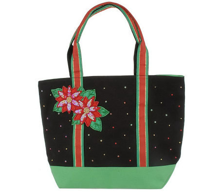 Quacker Factory Holiday Embellished Tote Bag