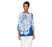 Susan Graver Liquid Knit Floral Print 3/4 Sleeve Top - A90833