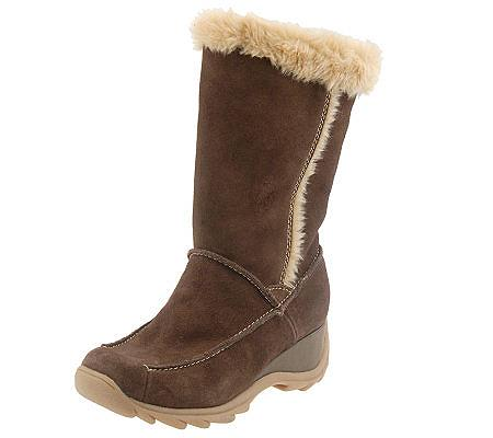 sporto suede waterproof boots with faux fur lining qvc