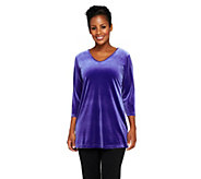 Susan Graver Stretch Velvet V-neck 3/4 Sleeve Tunic - A220134