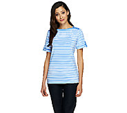 Denim & Co. Short Sleeve Boatneck Stripe Top - A224734
