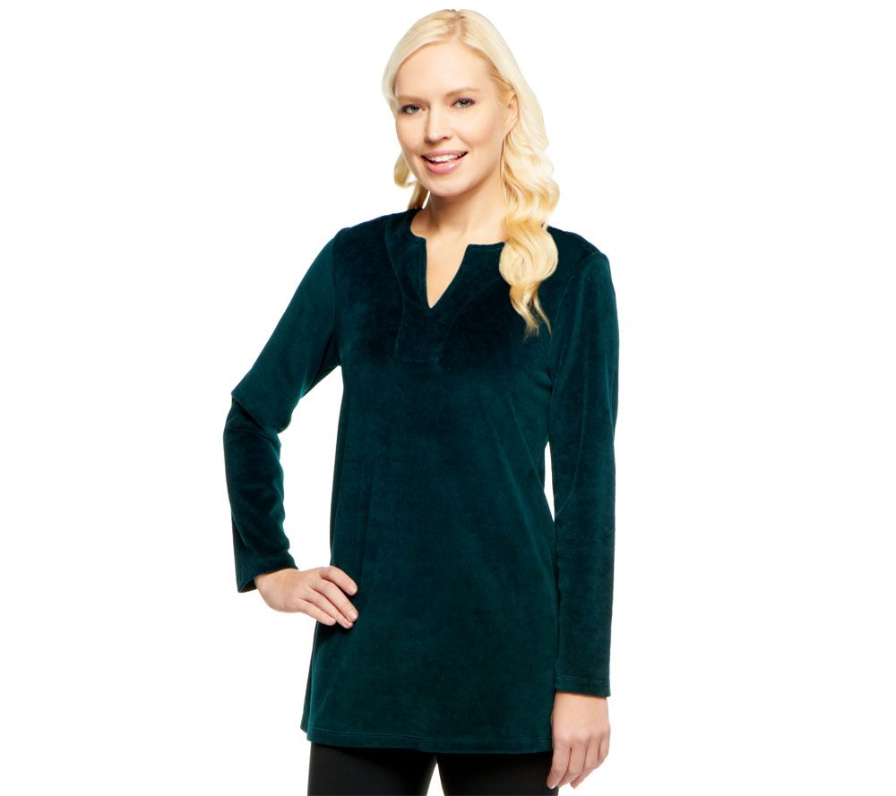 Susan Graver Velour Long Sleeve V-neck Tunic - Page 1 ...