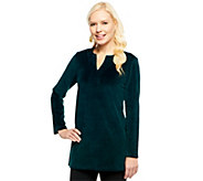 Susan Graver Velour Long Sleeve V-neck Tunic - A229134