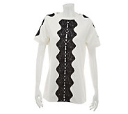 George Simonton Short Sleeve Scoop Neck PonteKnit Tunic w/ Lace Detail - A229334
