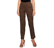 Susan Graver Ponte Knit Animal Print Hollywood Waist Pants - A235634