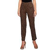 Susan Graver Ponte Knit Animal Print Hollywood Waist Pants - A235634
