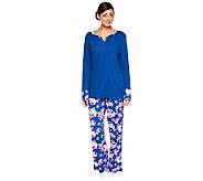 Carole Hochman Rose Garden Waffle & Jersey Knit Pajama Set - A235834