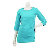 As Is Denim & Co. 3/4 Sleeve Knit Tunic with Sleeve Detail - A236634