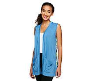 LOGO by Lori Goldstein Knit Vest with Chiffon Stripe Printed Back - A240734