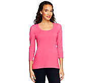 Susan Graver Essentials Stretch Cotton Scoop Neck Sweater - A251334